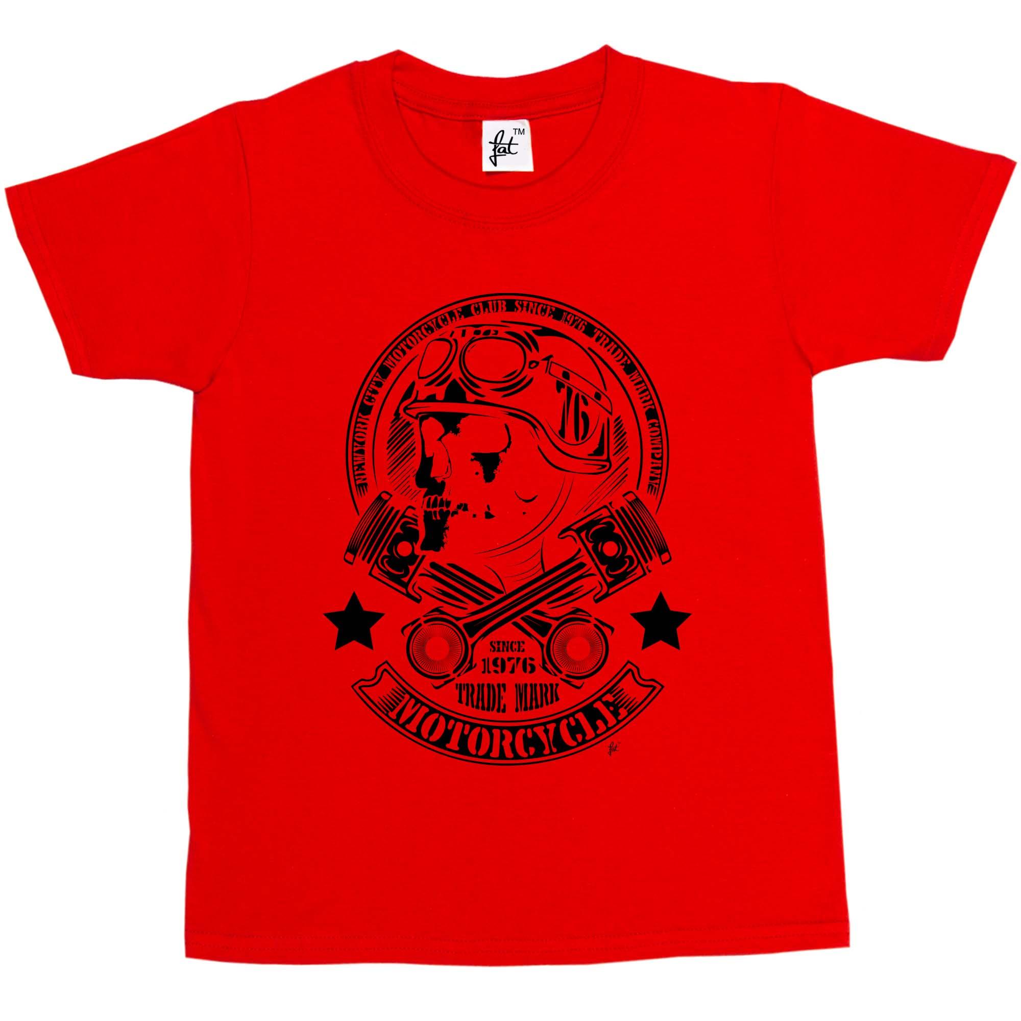 Girls T-Shirt New York City Motorcycle Club Skull Rider Cross Parts Kids Boys