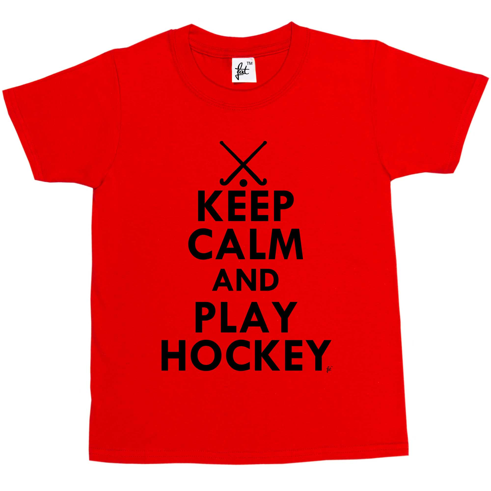 Keep Calm /& Play Hockey Girls T-Shirt Hockey Sticks Kids Boys