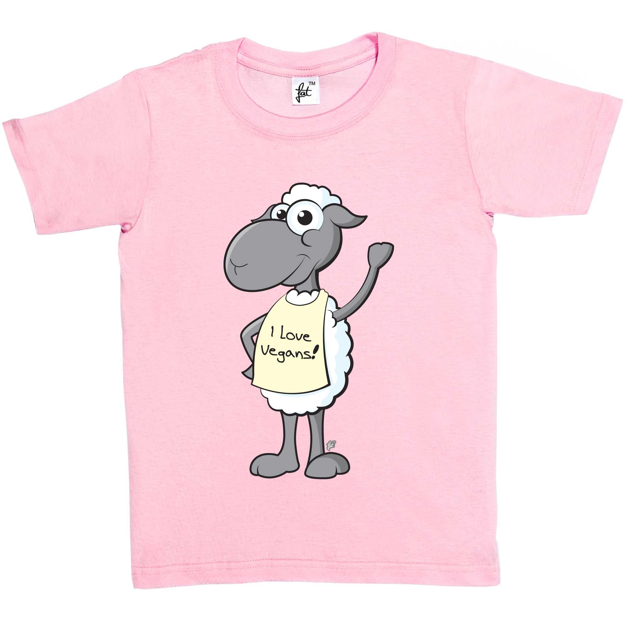 Waving Smiling Sheep Wearing I Love Vegans Sign Kids Boys Girls T-Shirt