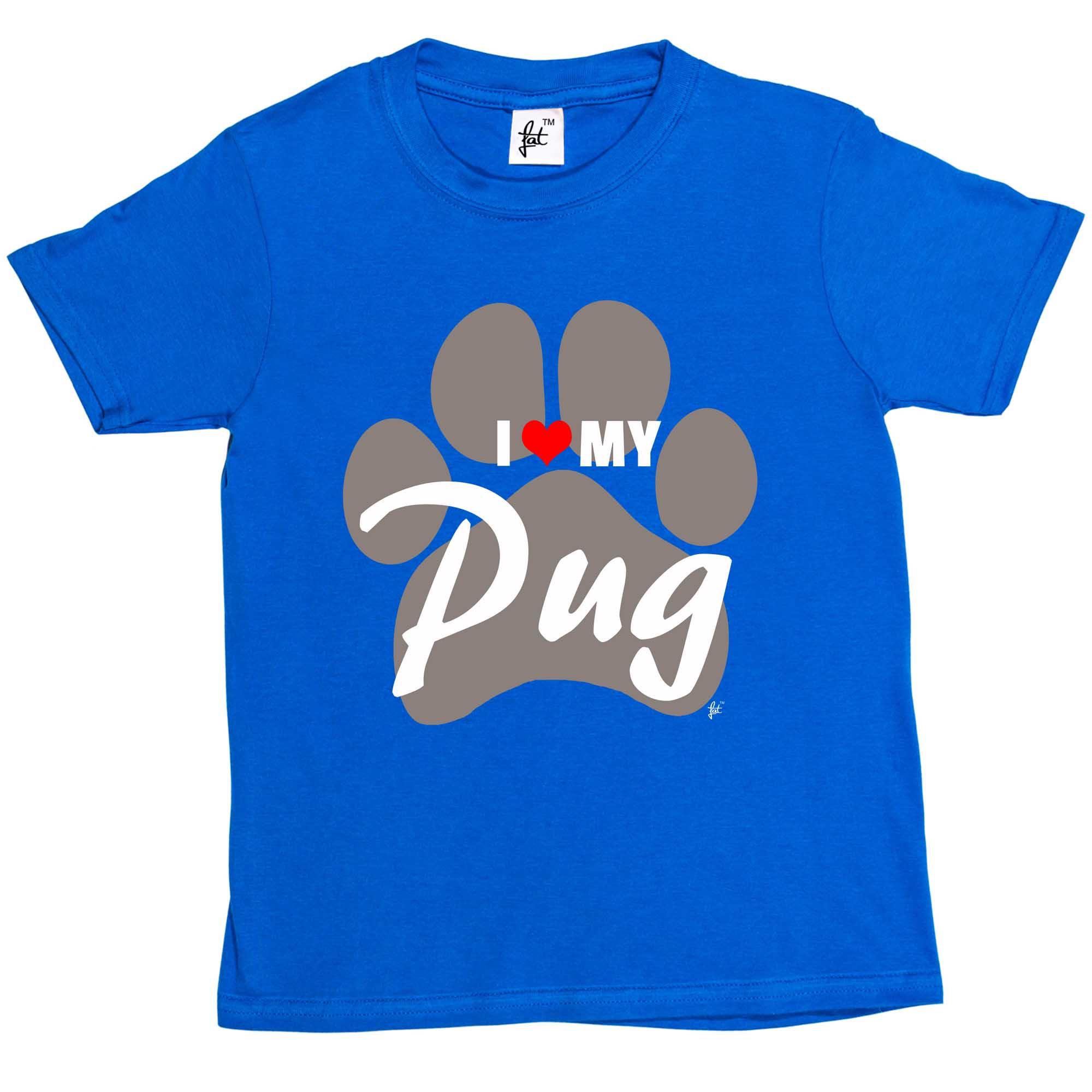 I Love My Pug Paw Print Dog  Kids Boys Girls T-Shirt