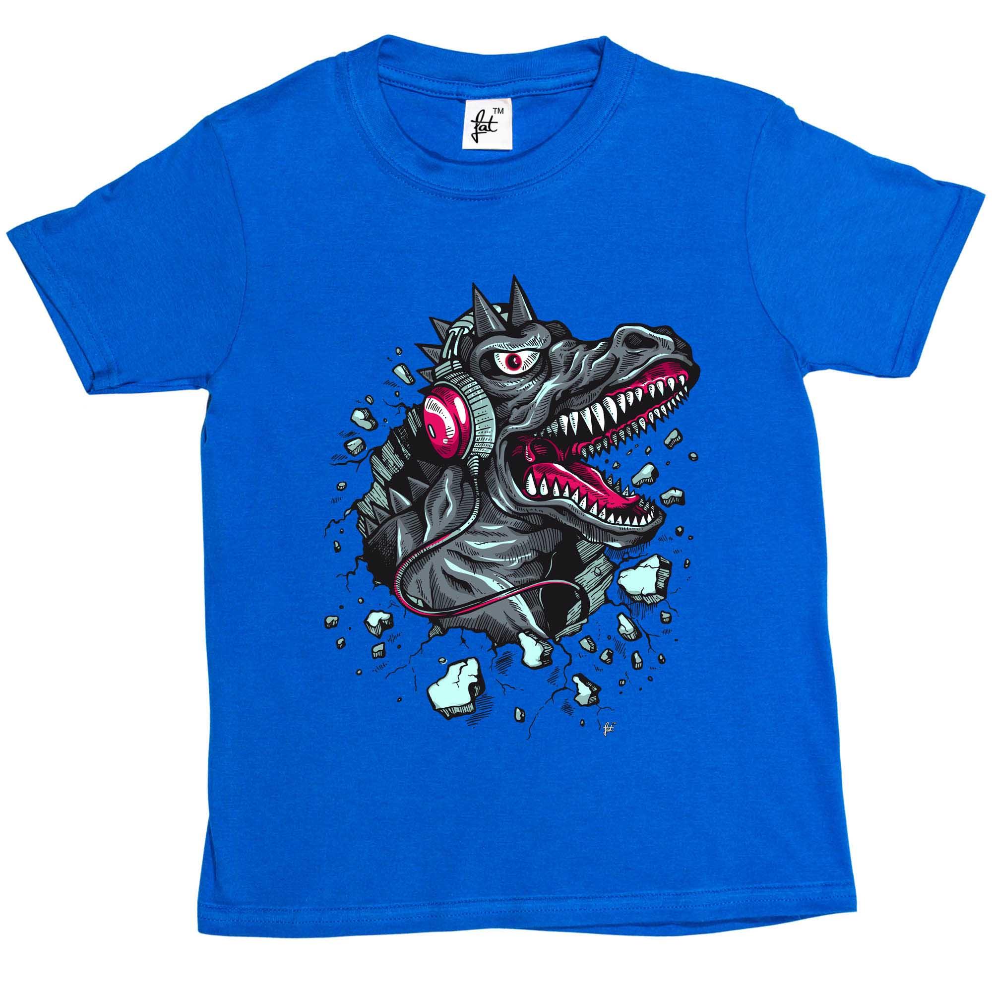 Dinosaur Breaking Through Wearing Headphones Kids Boys Girls T-Shirt