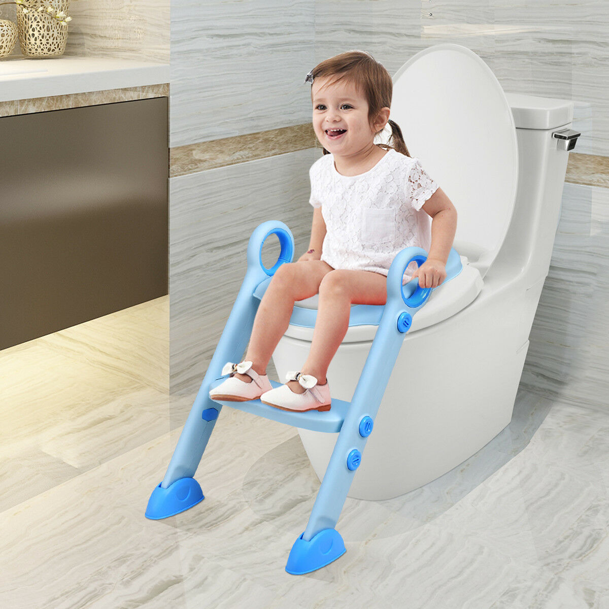 Toddler Toilet Potty Training Seat with Sturdy Non-Slip Ladder Step Boys /& Girls