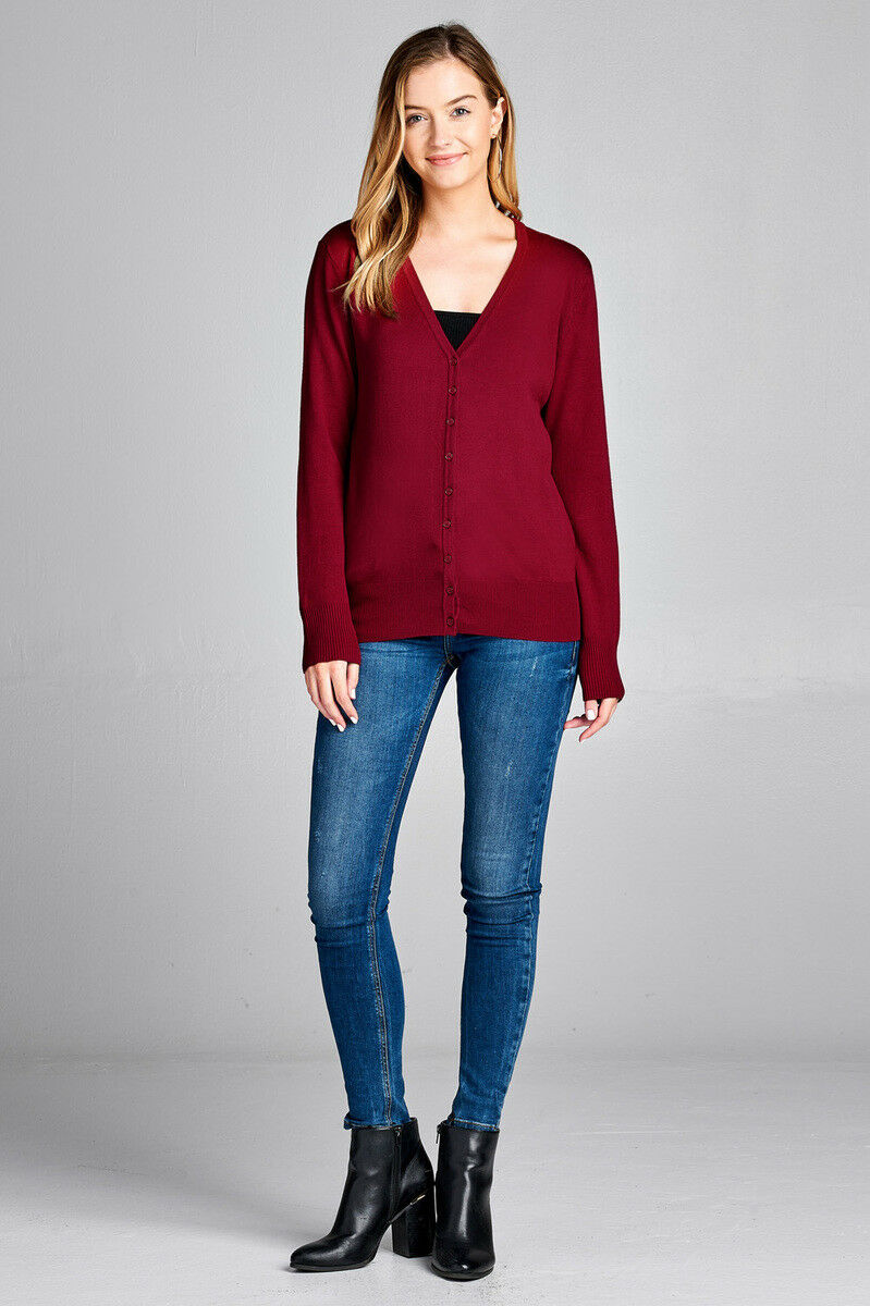 Women/'s Long Sleeve Button Up Cardigan Sweater Classic V-Neck Rib Banded