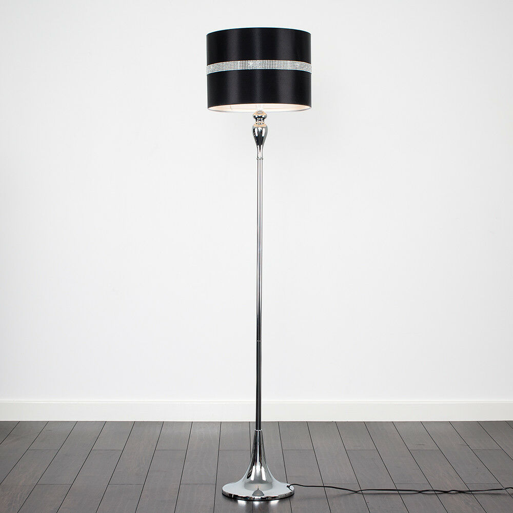 Modern 158cm LED Standard Floor Lamp Chrome Finish Spindle Design Drum Shades