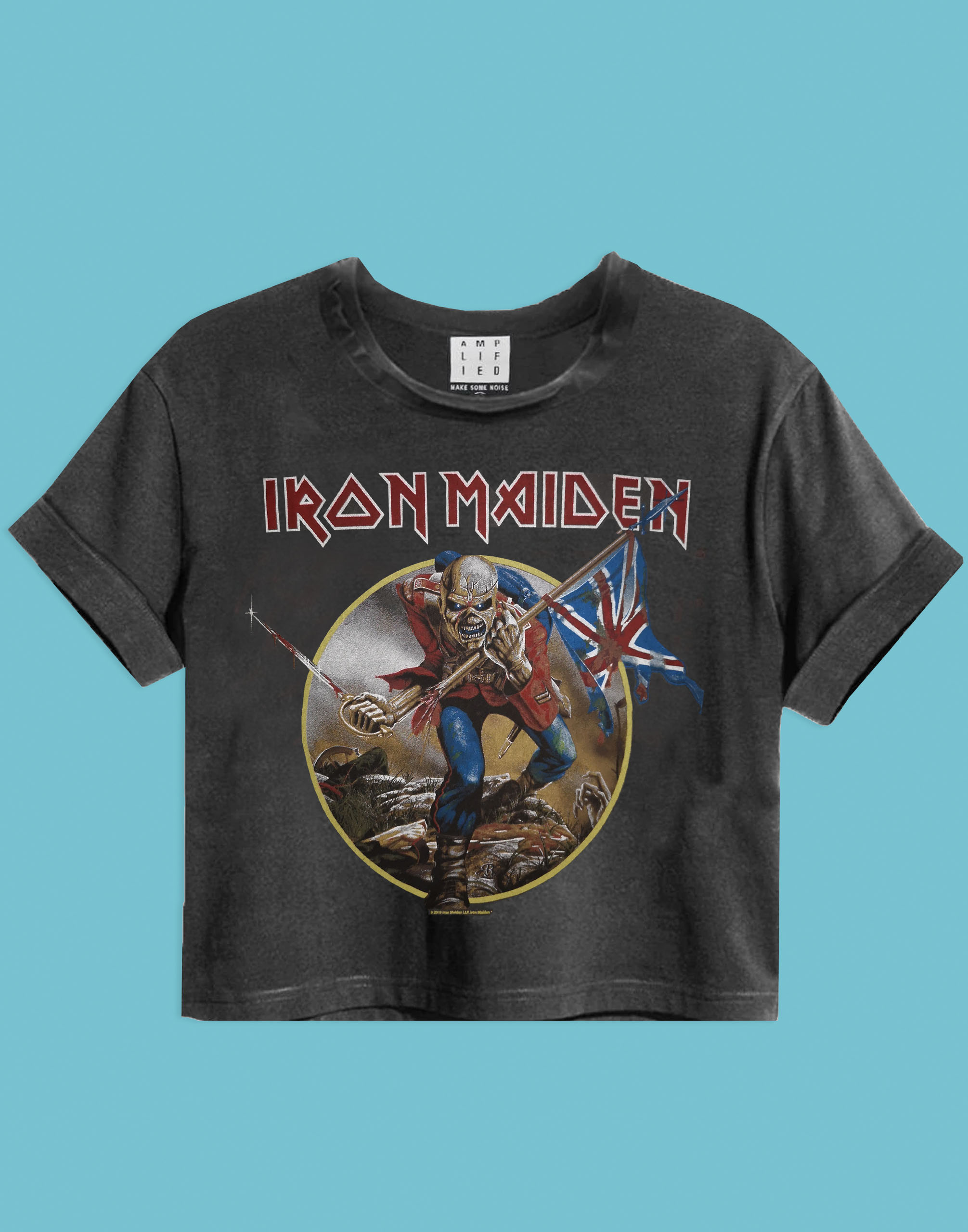 Amplified Iron Maiden Trooper Charcoal Ladies Women/'s Cropped Band T-Shirt