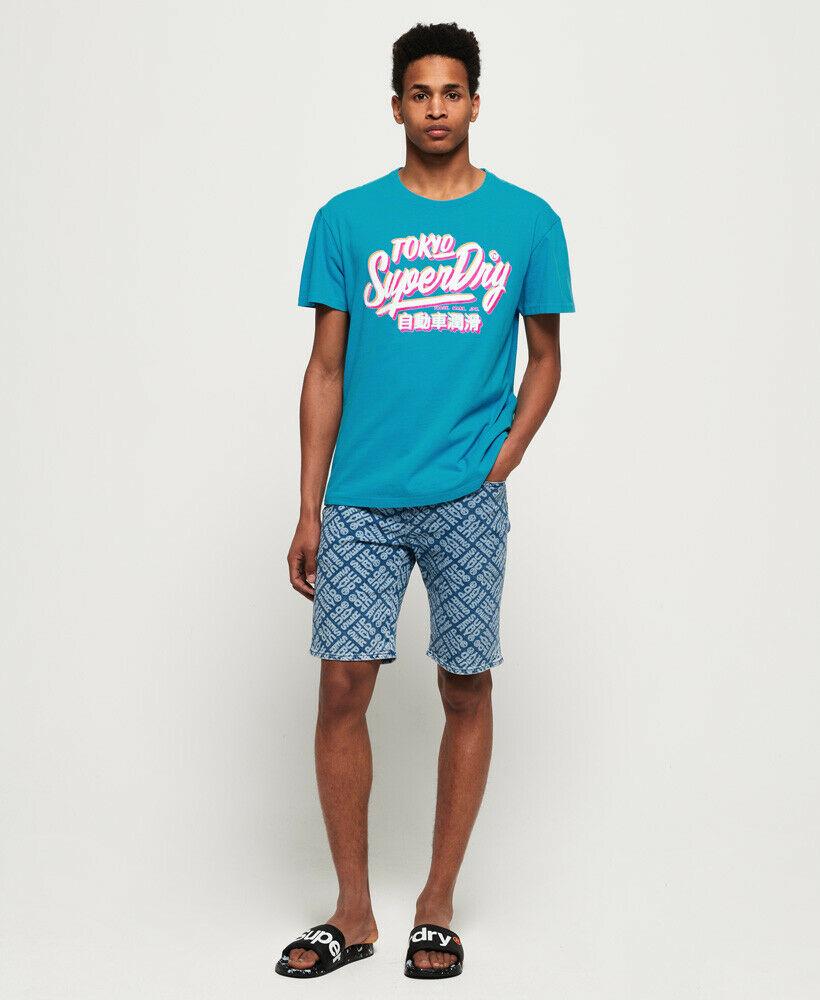 Nouveau Homme Superdry Ticket Type Surdimensionné Fit T-shirt Skate Bleu