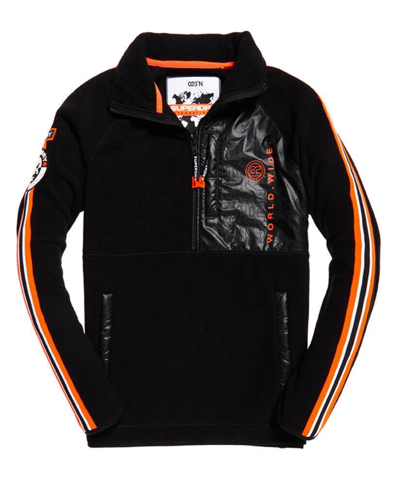 Nouveau Homme Superdry Mountain Polaire Half Zip Jacket Noir