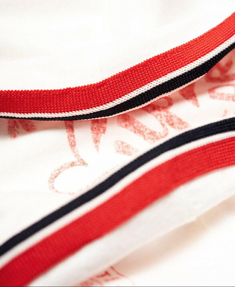 New Womens Superdry Riders Club Ringer T-Shirt Winter White Nep