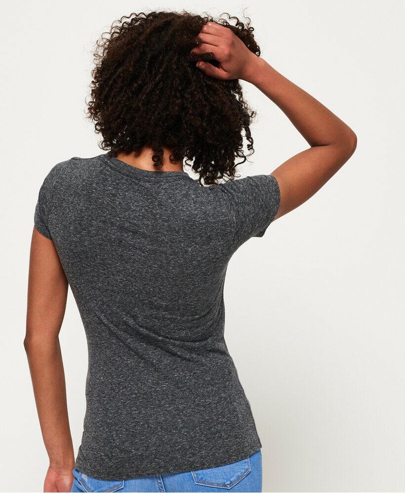 Neues Damen Superdry American Star T-Shirt Dunkelgrau Snow
