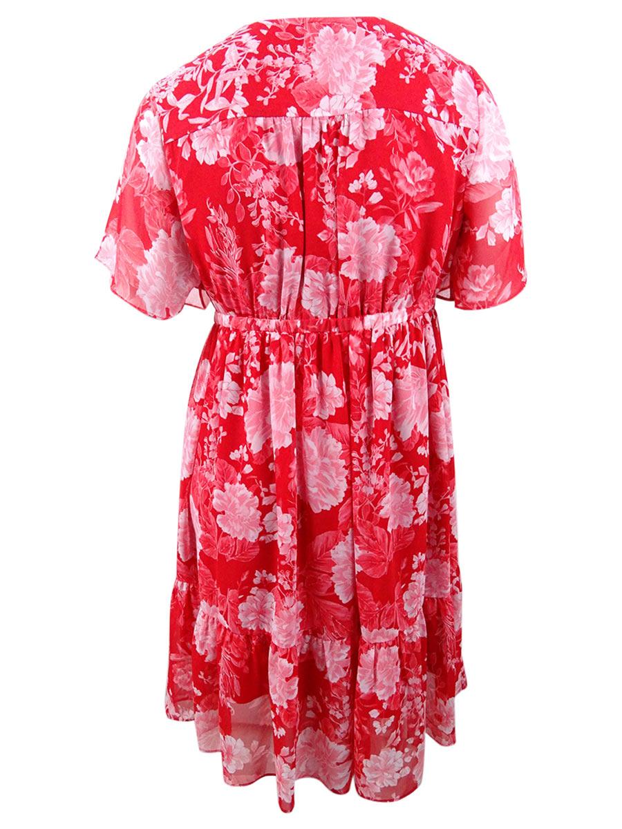2X, Red INC International Concepts Women/'s Plus Size Faux-Wrap Kimono Dress