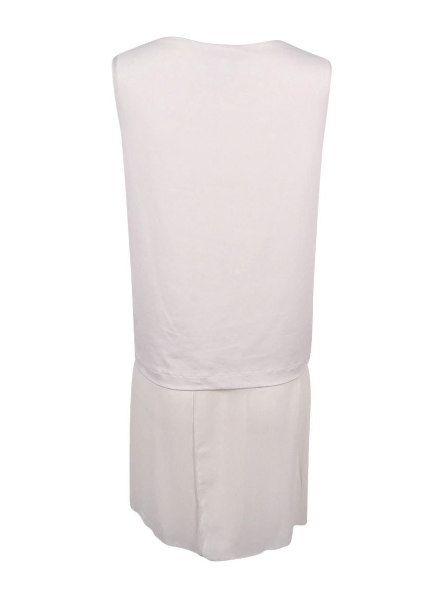 M, Soft White Alfani Women/'s Chiffon Hem Tank Top