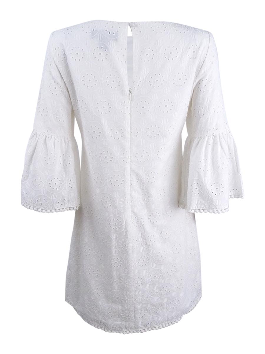 Jessica Howard Women/'s Petite Bell-Sleeve Cotton Eyelet Dress