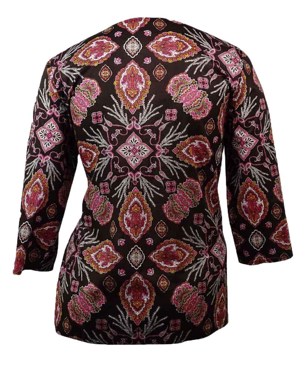 Charter Club Women/'s Soutache Printed Cotton Tunic S, Rich Truffle Combo