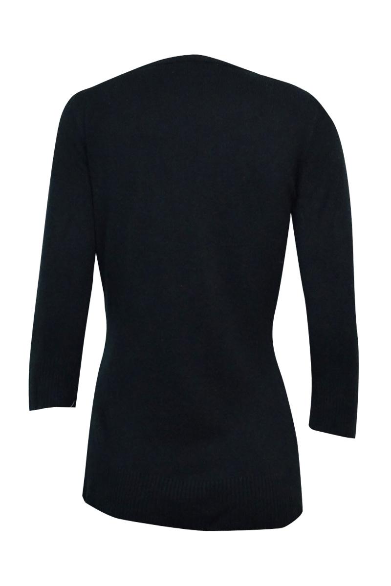 Karen Scott Women/'s Rib Trim V-Neck Sweater