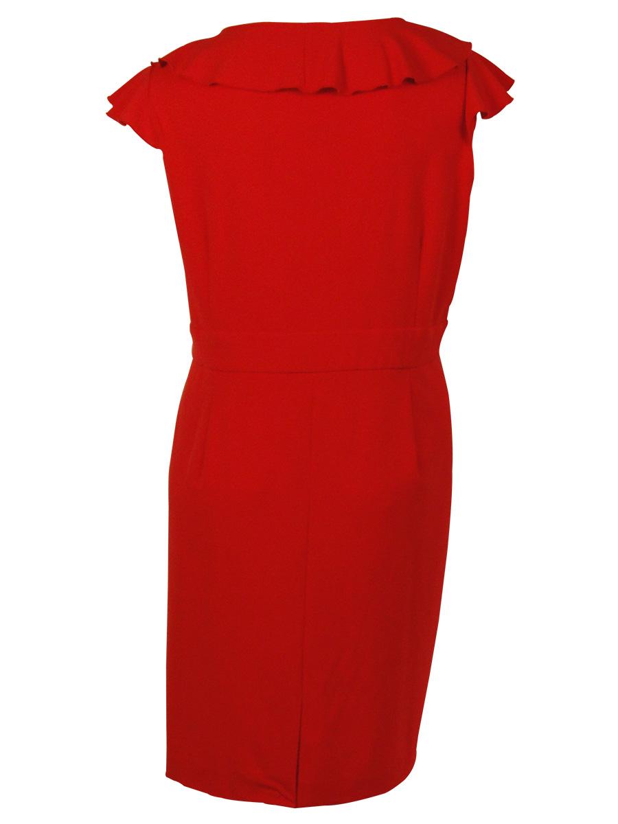 Spense Women/'s Ruffled Cascade Trim Dress