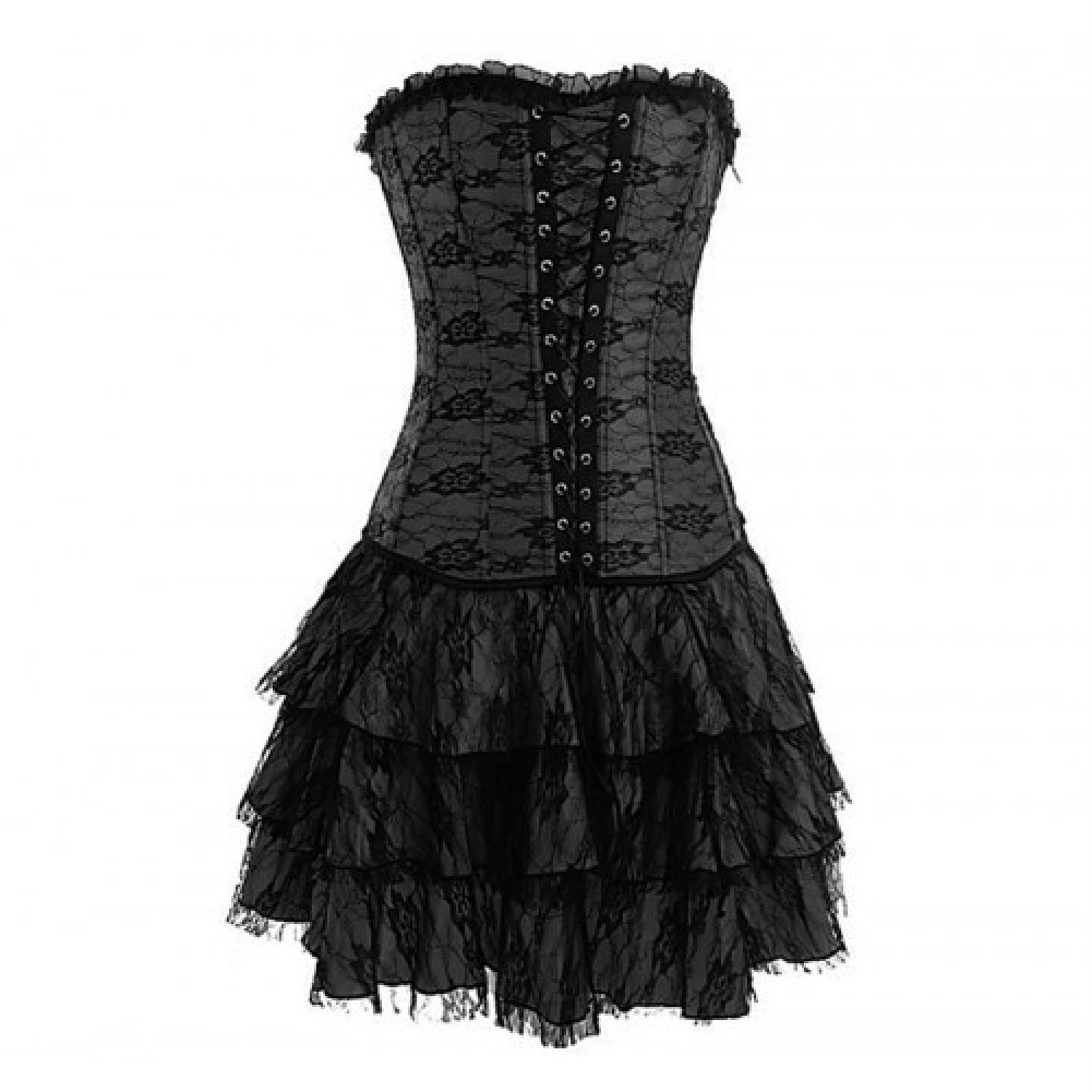 Plus Size Lingerie 3X 4X 5X 6X Lace Gothic Corset Skirt Set SEXY ...