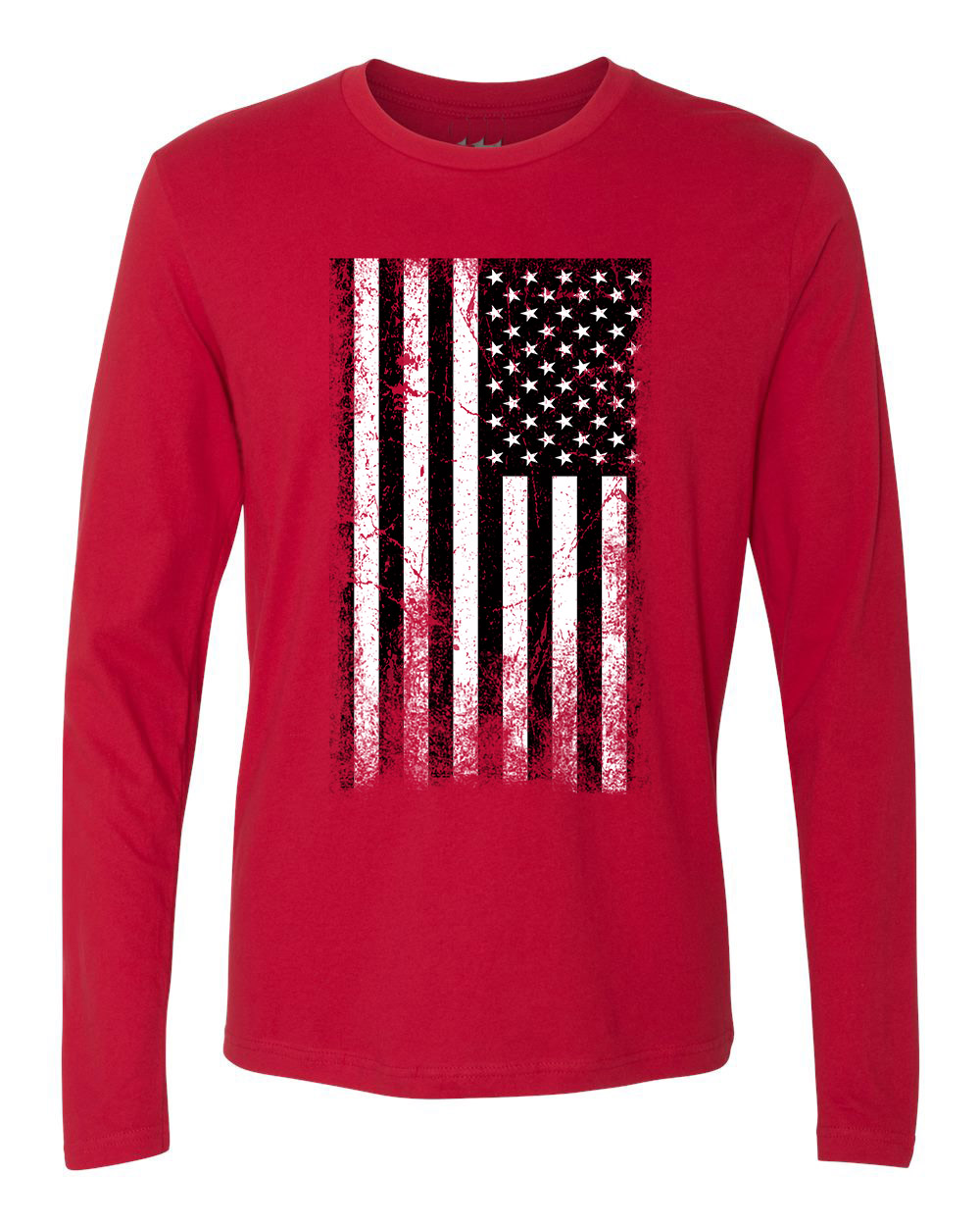 American flag distressed black white mens long sleeve t for Custom t shirts distressed