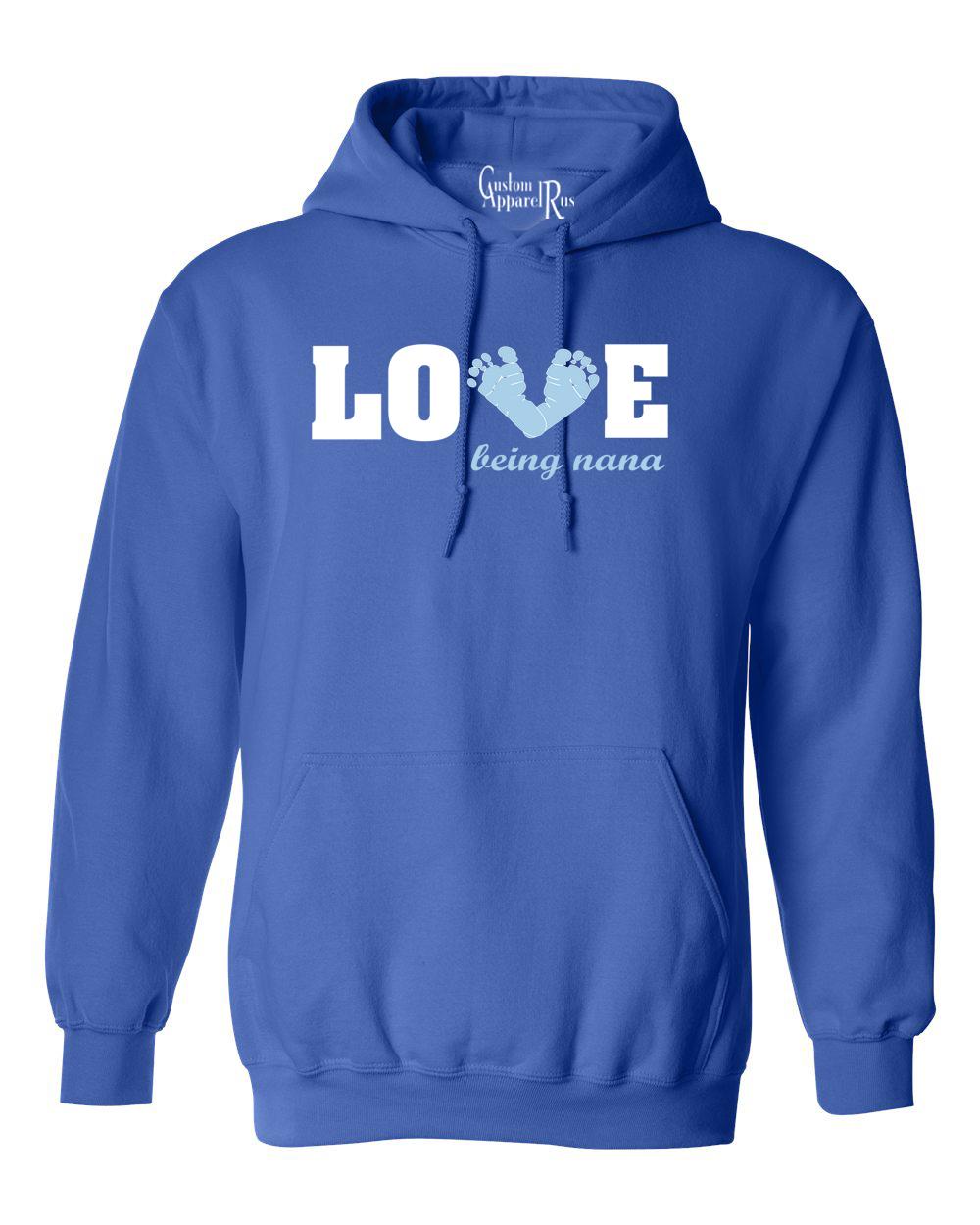 love being a nana baby blue feet womens hoodie sweatshirt ebay. Black Bedroom Furniture Sets. Home Design Ideas