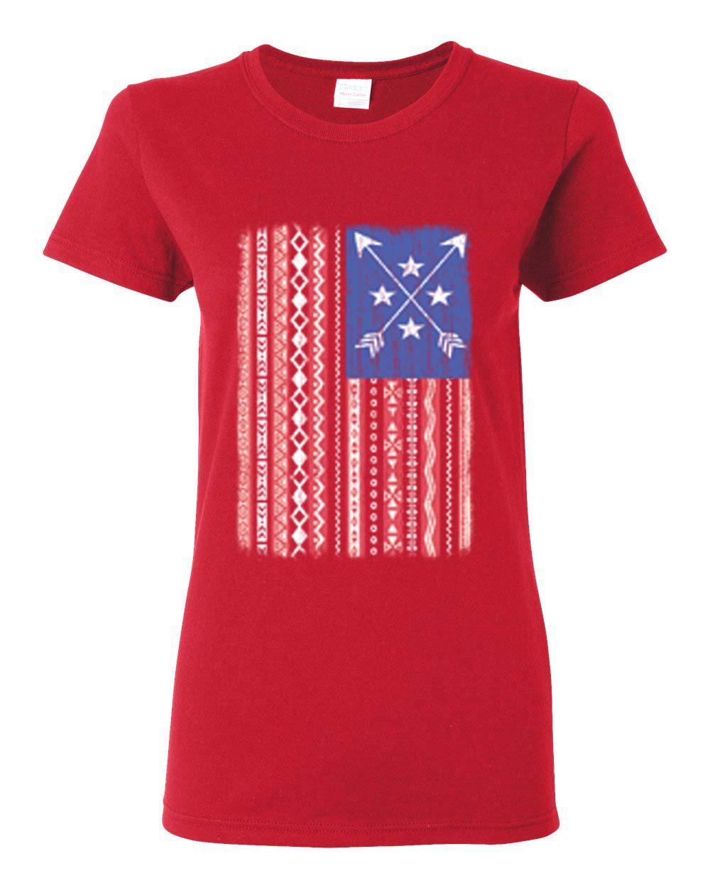 Trending arrows american flag patriotic womens t shirt top for Ladies american flag t shirt