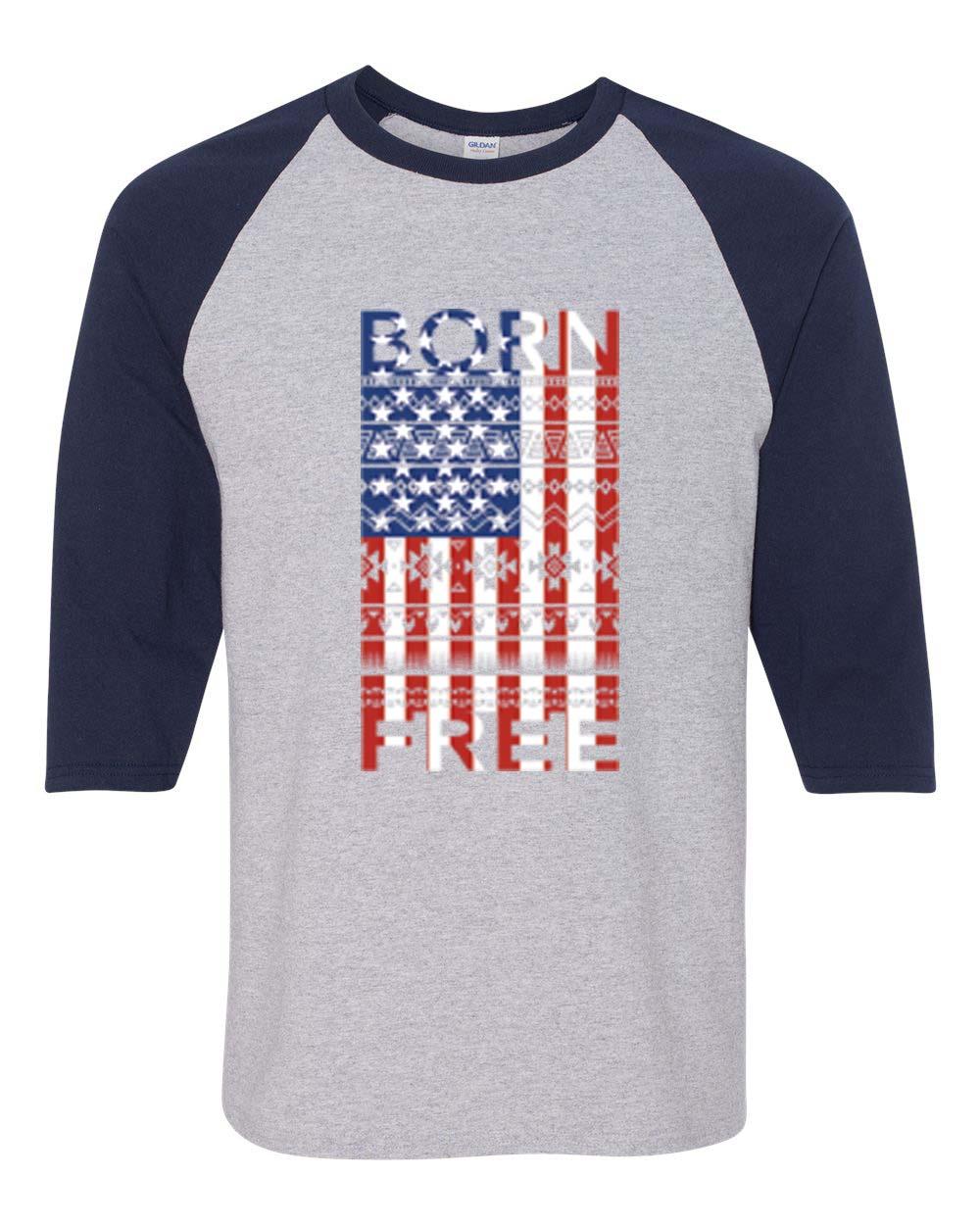 Born Free American Flag Distressed Patriotic 3 4 Raglan