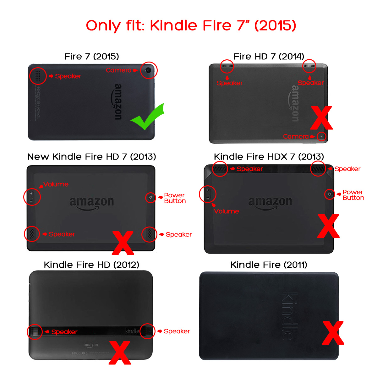 Ulak Slim Magnetic Trifold Stand Cover Case For Amazon Kindle Fire 7 Tablet 2015