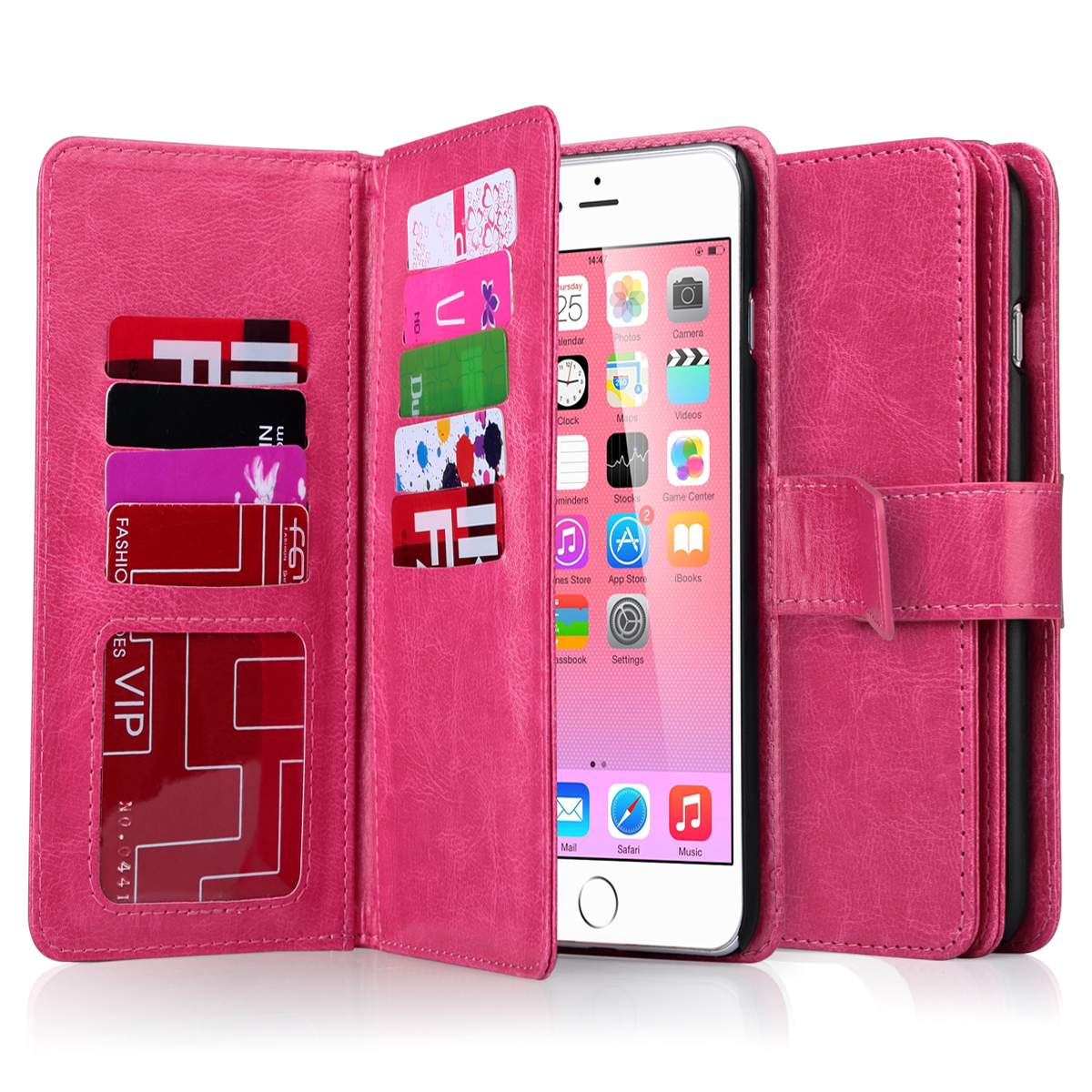 For iPhone 6 Plus/6s Plus 5.5 Leather Credit Card Holder ...