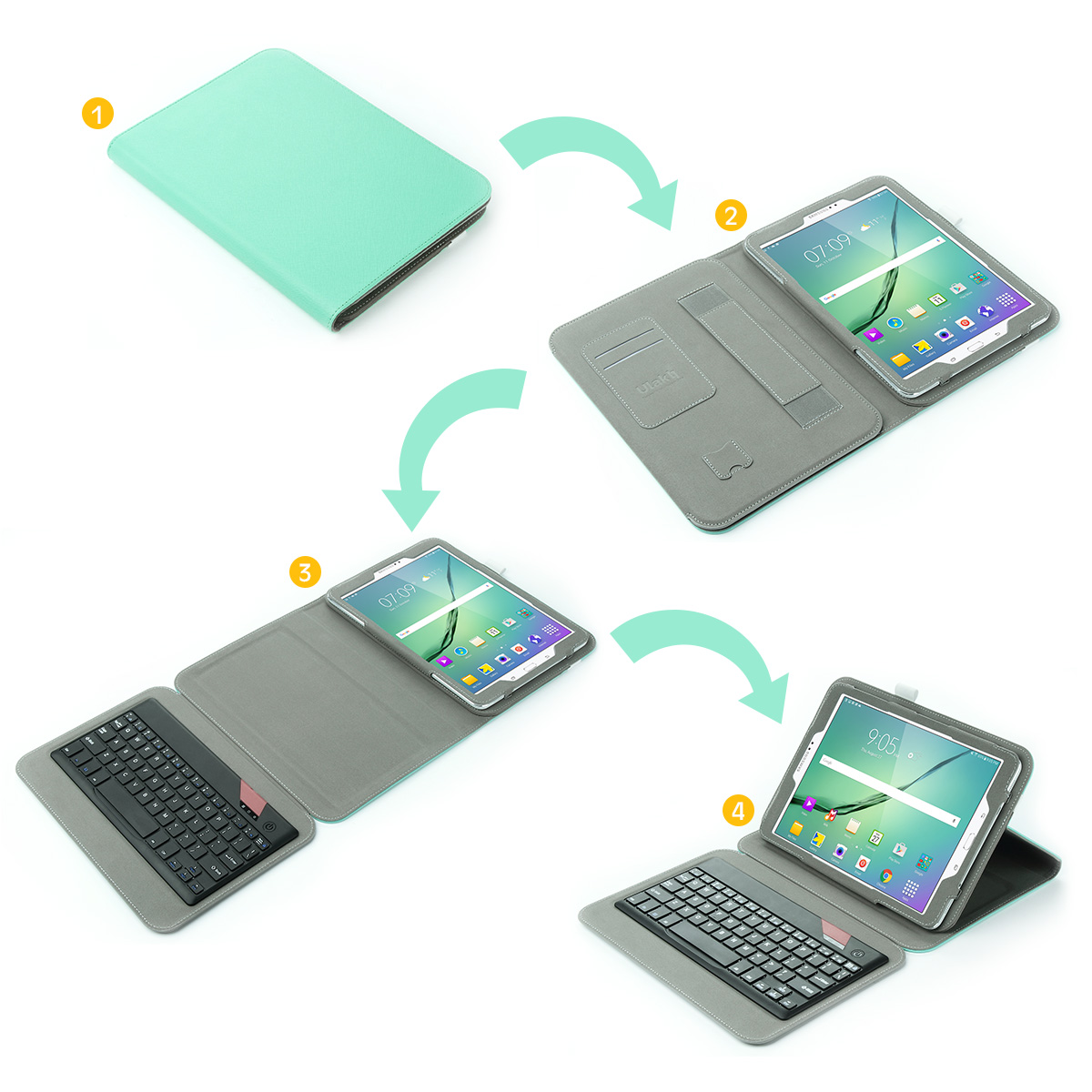 slim bluetooth keyboard case stand cover for samsung galaxy tab s2 9 7 tablet ebay. Black Bedroom Furniture Sets. Home Design Ideas