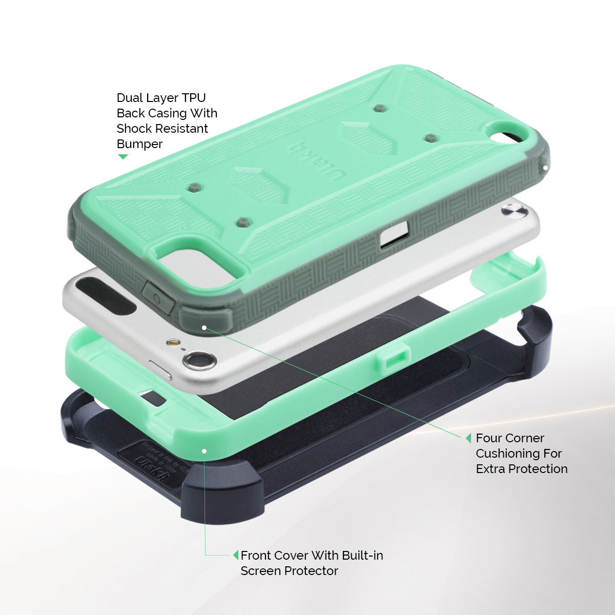 ULAK KNOX ARMOR Rubber High Impact Hard Case Hybrid Cover for iPod Touch 5 6th