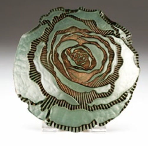 Red Pomegranate Rose Canape Plate Turquoise Gold Ebay