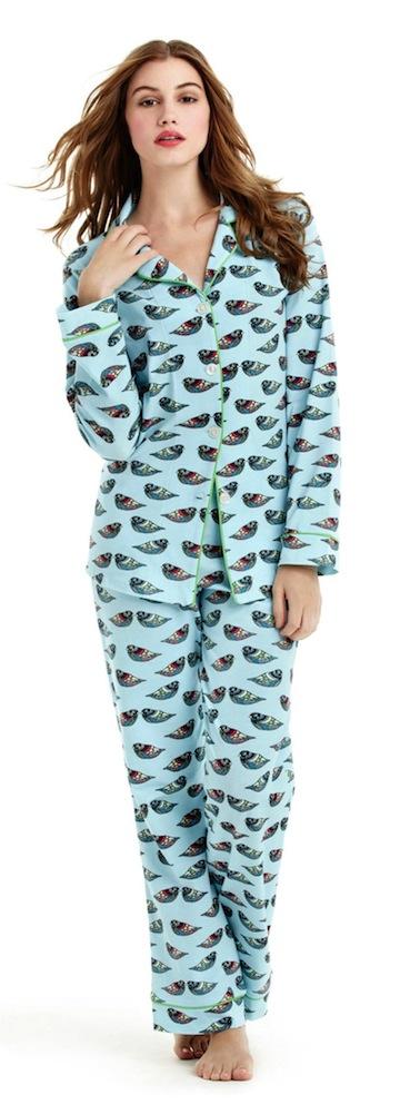 Bed Head Topaz Jewel Bird Flannel Classic Cotton Pajama's PJ's - Extra Small