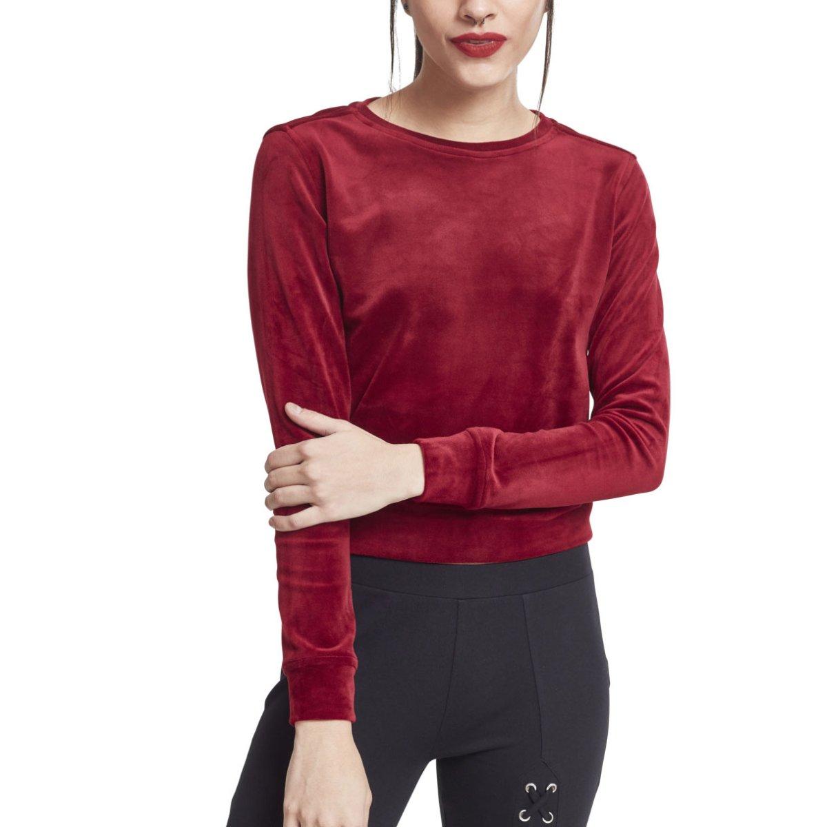 Urban Classics Ladies VELVET Velours Samt Short Sweater