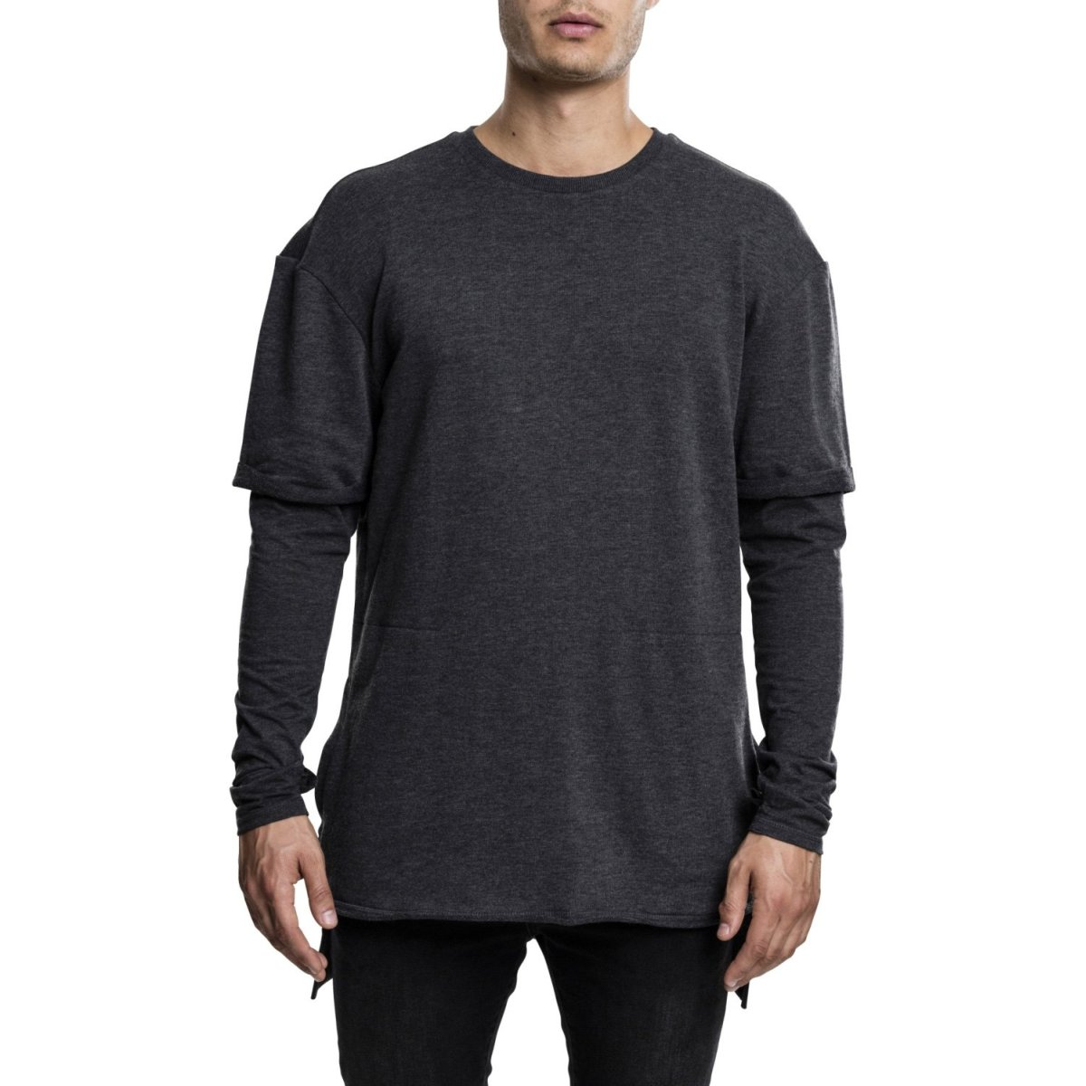 URBAN Classics 2in1 Terry Print-Long Pullover layer