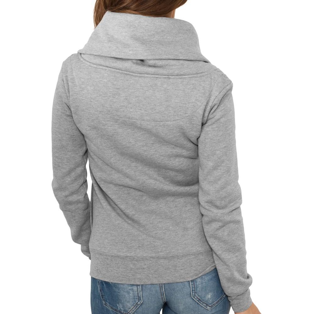Urban Classics Ladies ASYMETRIC High Neck Fleece Zip Hoody
