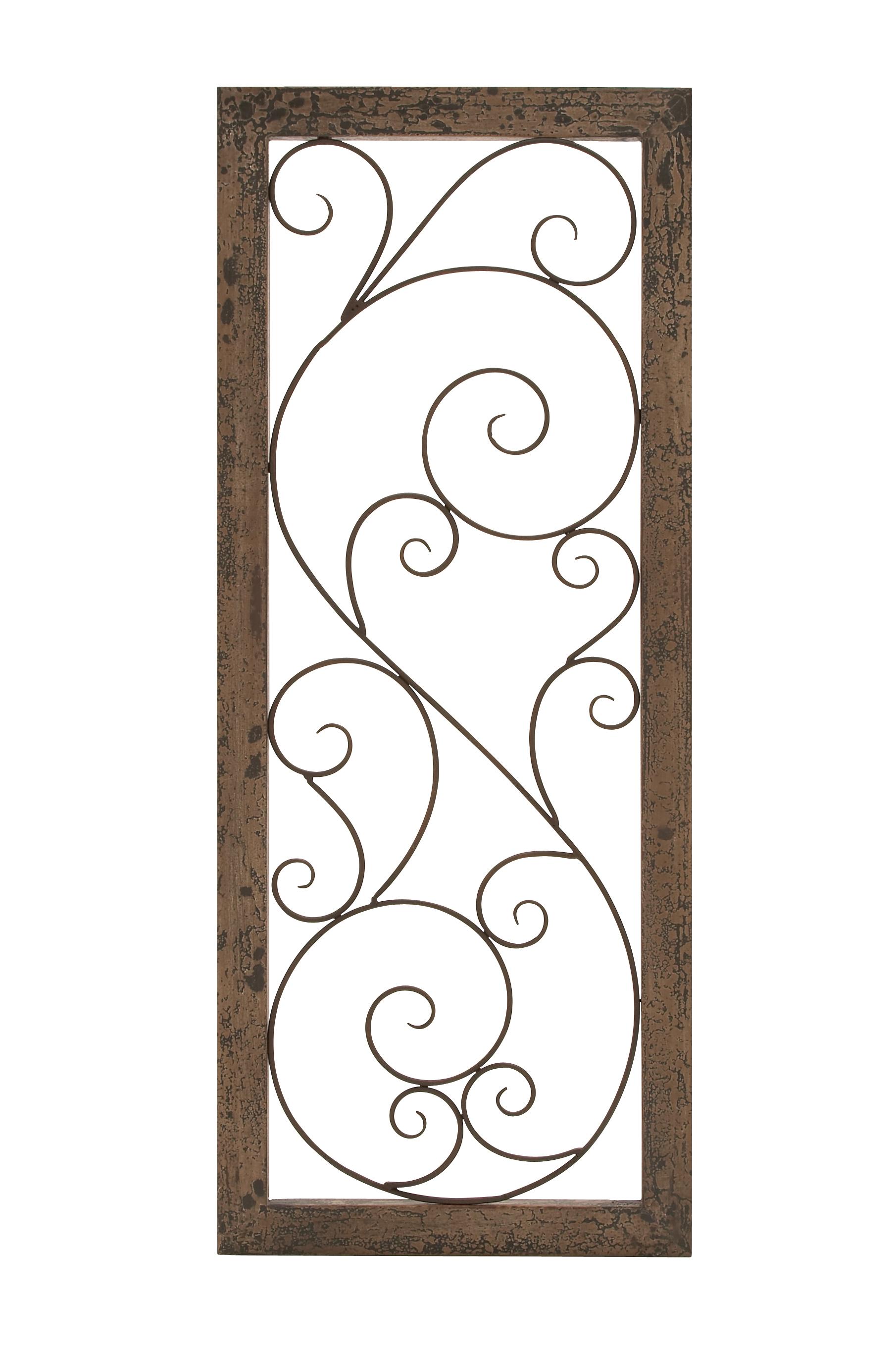 Woodland Imports Elegant Wall Panel Set Brown Wood Bronzed Metal Scroll Work Décor 52791