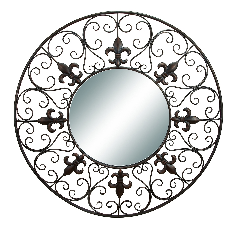 Round Wire Wall Decor : Round wall mirror fleur de lis metal black d?cor