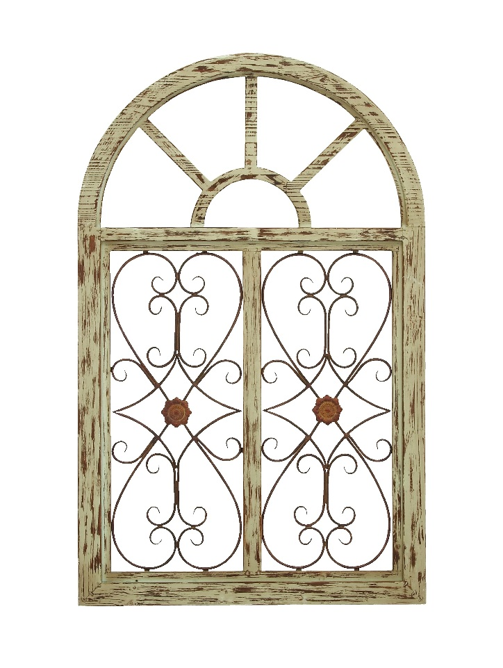Victorian gate wood wall plaque metal distressed beige for Window arch wall decor
