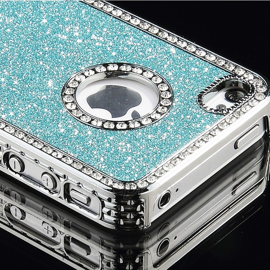 New Luxury Bling Glitter Hard Plastic w Diamond Case Cover for Apple iPhone 4 4S