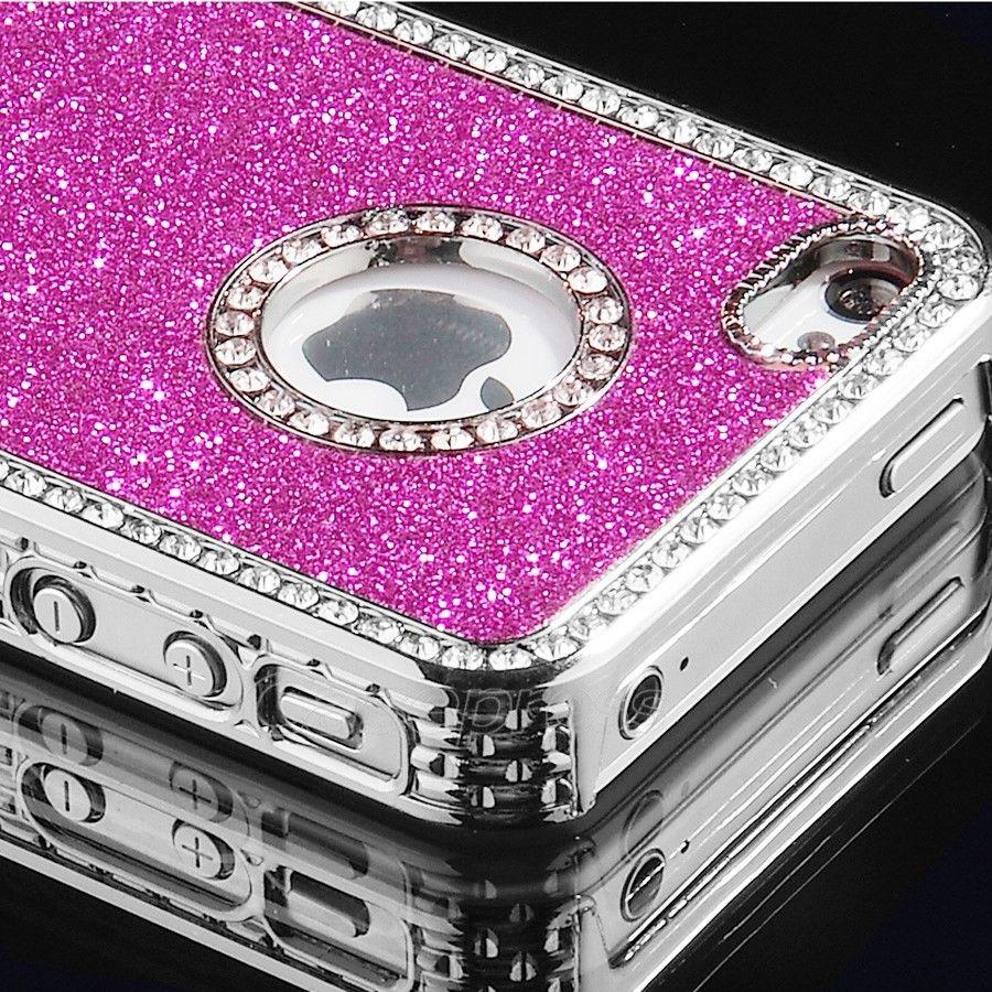 New Luxury Bling Glitter Hard Plastic w Diamond Case Cover for Apple iPhone 4 4S