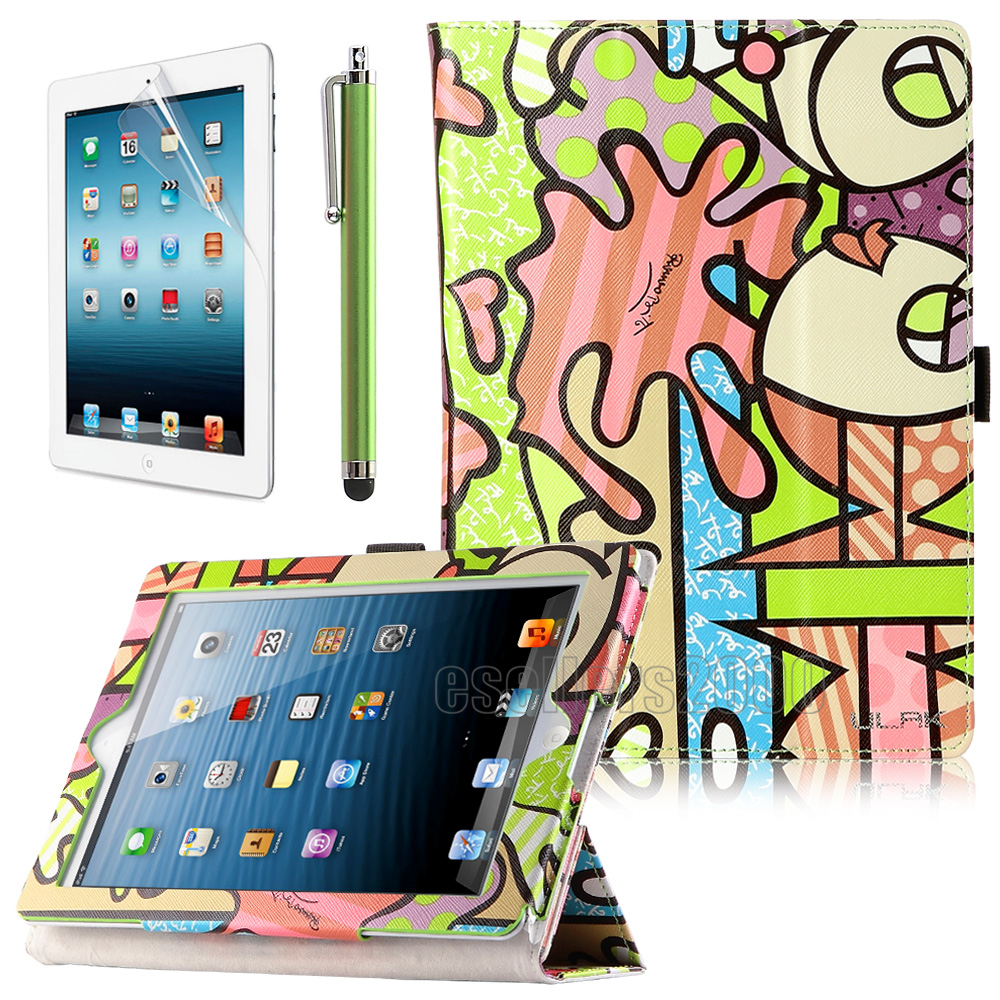 For Apple New iPad 4 iPad 2 3 Folio Magnetic PU Leather Case Smart Cover Stand