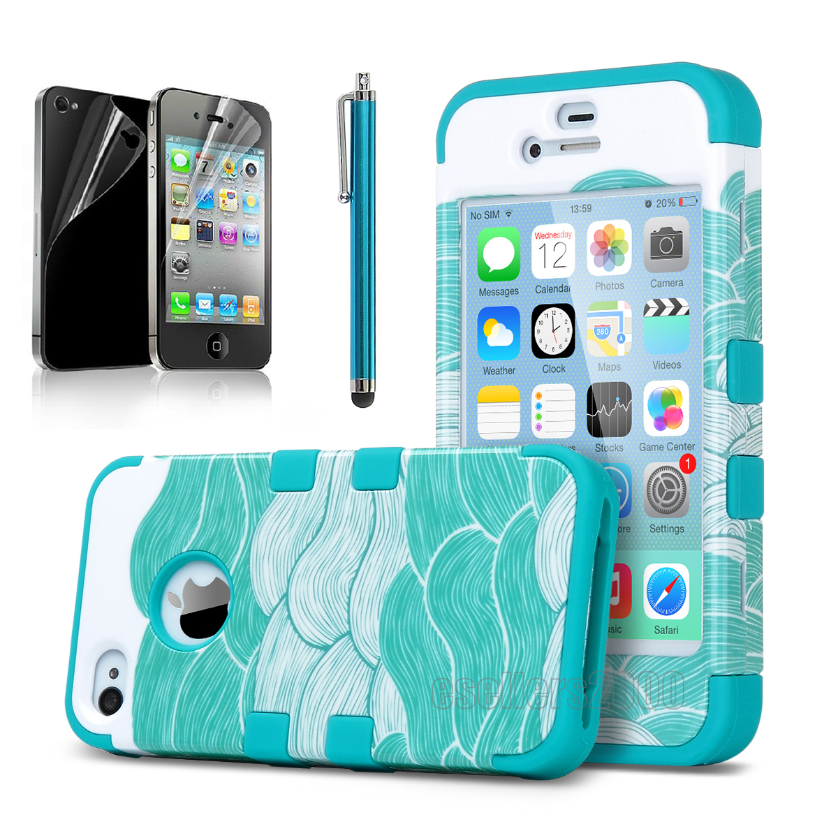 For Apple iPhone 4 4S Shockproof Rugged Rubber Hard Case Cover w/ Screen Film