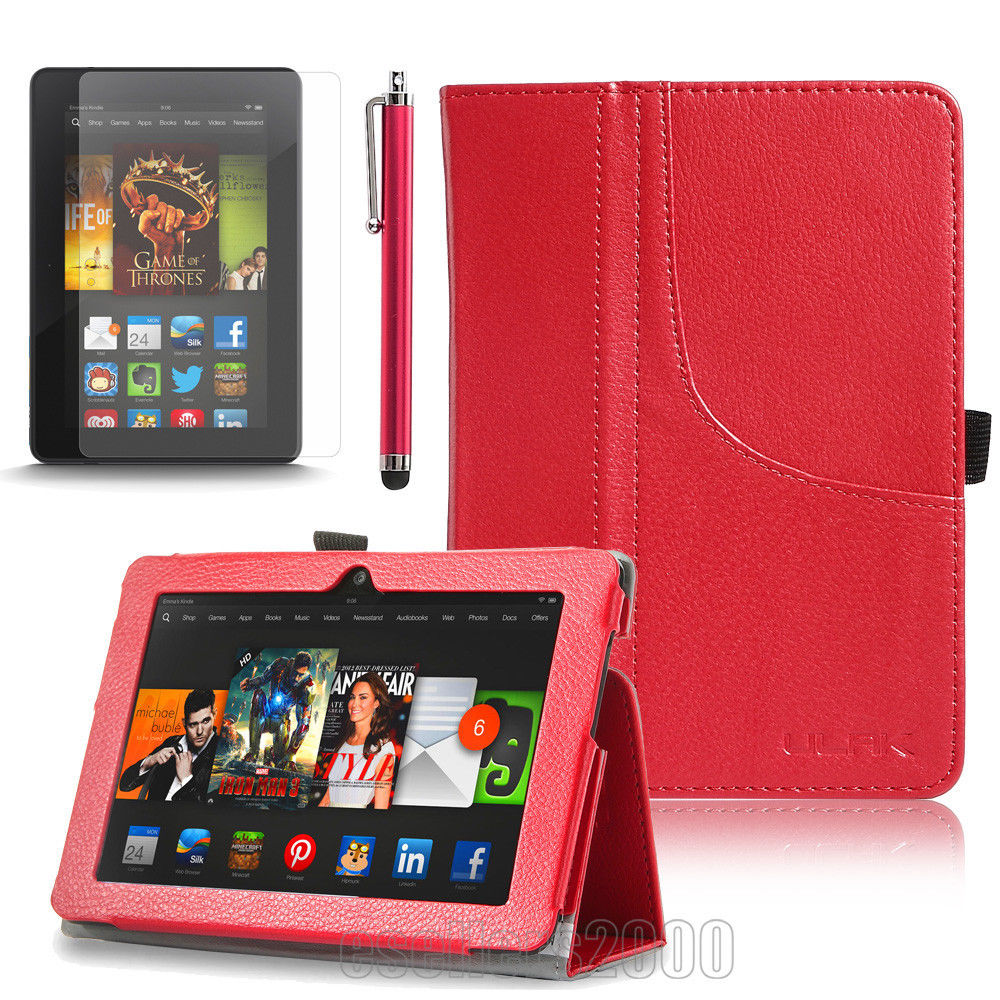"""For 2013 Amazon Kindle Fire HDX 7.0"""" Inch Folio PU Leather Case Stand Cover+Film"""