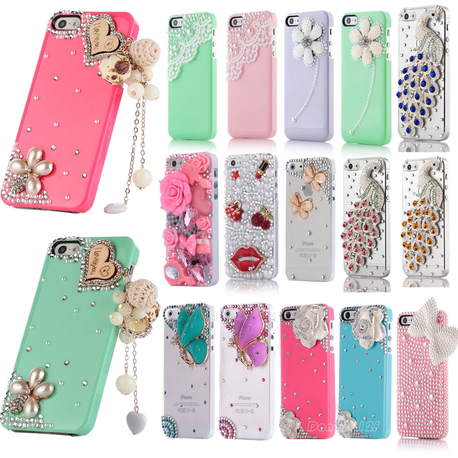Samsung samsung galaxy s3 bling phone cases : For Apple iPhone 5 5S Bling Cute Diamond Crystal Pearl Flower Hard 3D ...