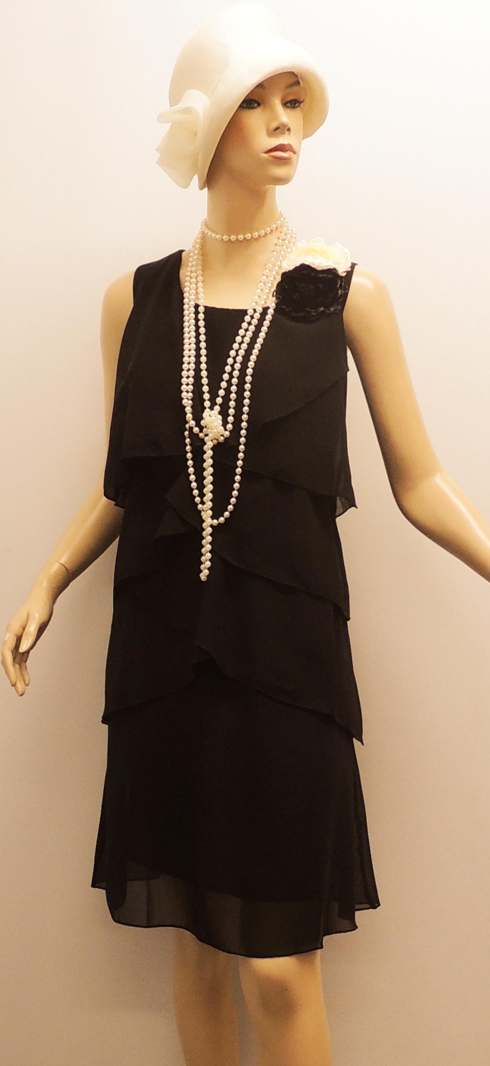 Vintage Ann Es 1920 Noir Gatsby Deco Downton Abbey Charleston Mousseline De Soie Ebay