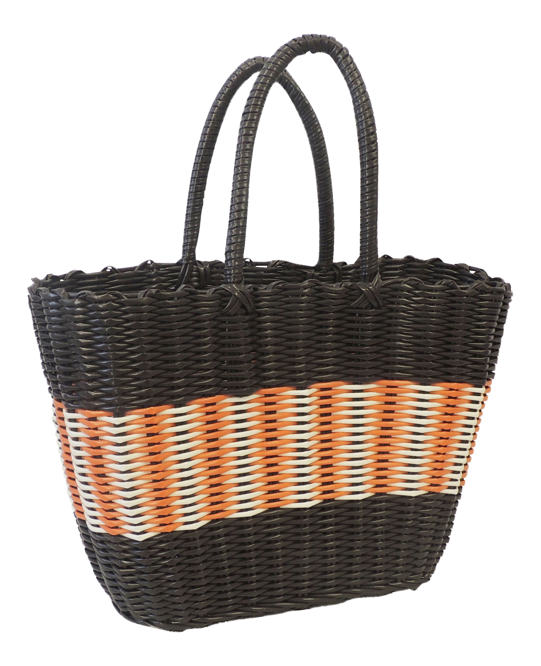 Woven Shopping Basket Uk : New retro s style brown plastic woven beach