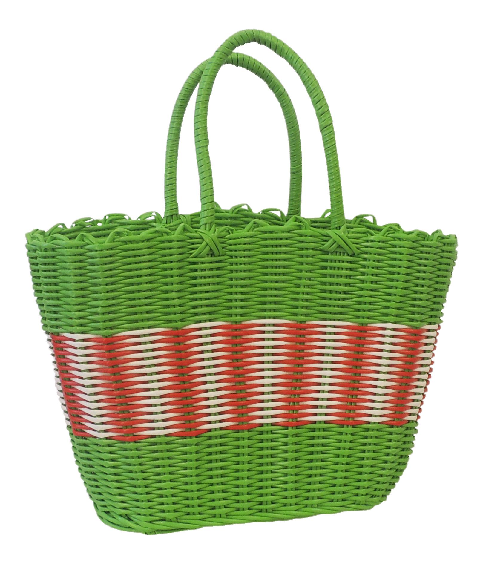 Woven Shopping Basket Uk : New retro s style green plastic woven beach