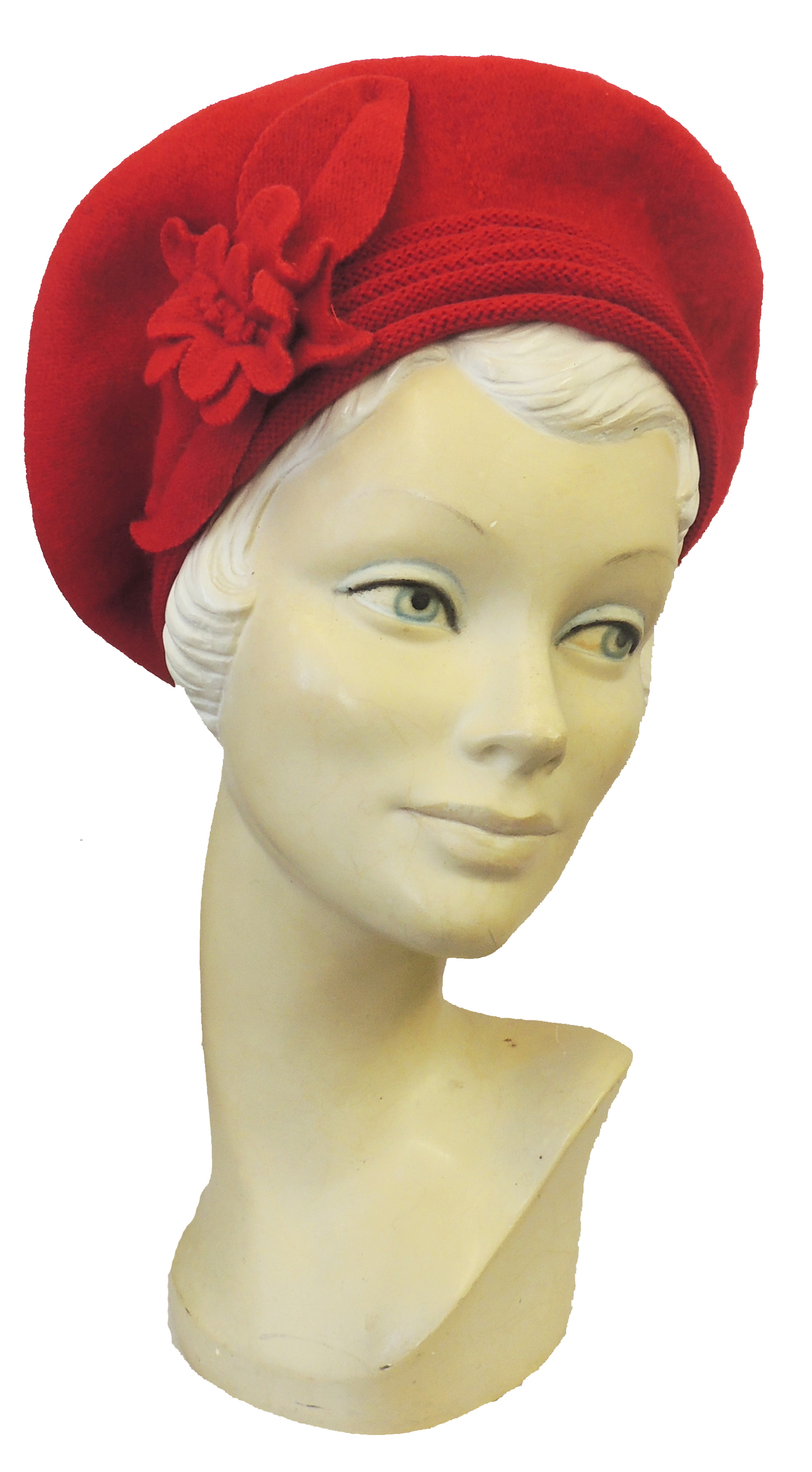 1940s Hats History    New Ladies VTG 1930s 40s WW2 Wartime Felt Flower Knit Halo Beret Hat $16.99 AT vintagedancer.com