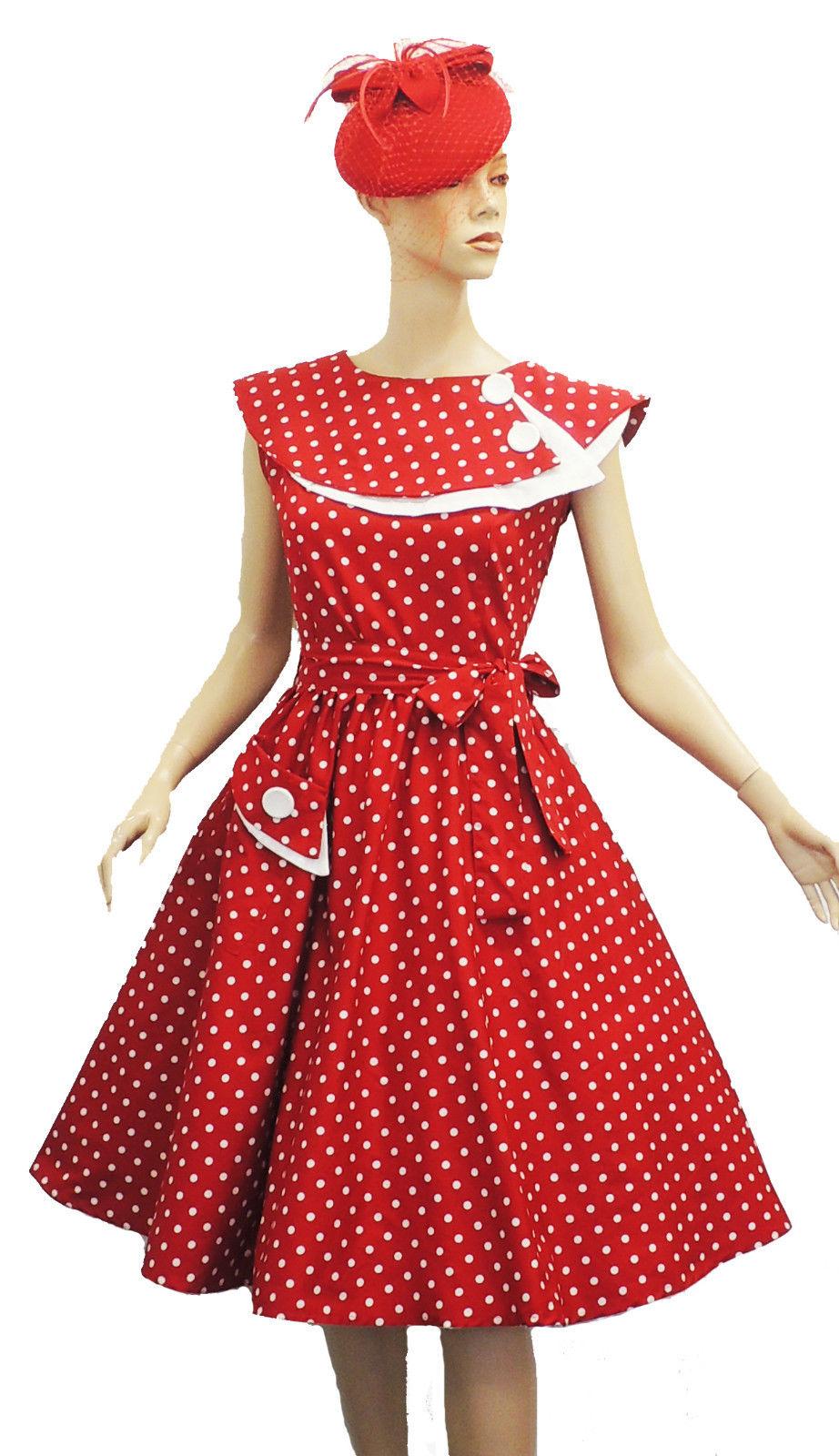 New Rosa Rosa Vtg 1950s Retro Polka Dot Rockabilly Party ...