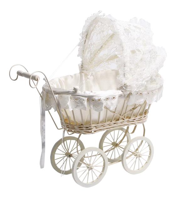 ANTIQUE WHITE DOLLS PRAM Girls Teddy Bear  Nursery LACE Wicker Role Play  Toy