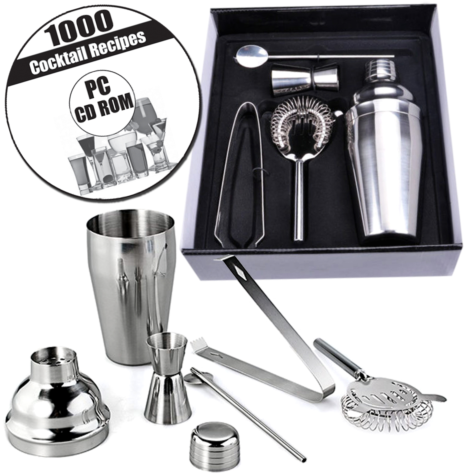 5pc Box Stainless Steel Cocktail Shaker Bar Set Kit Strainer Shot Measure Jigger