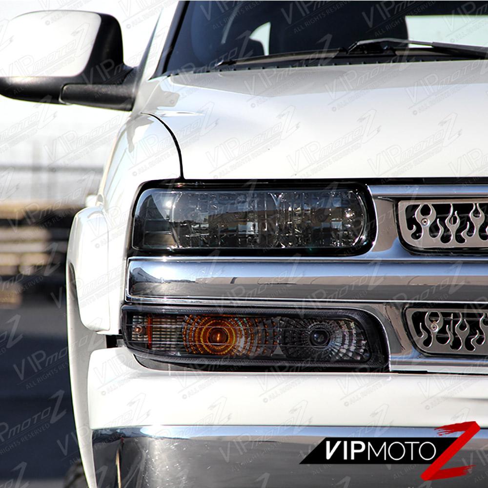 99 2002 Chevy Silverado 1500 2500 3500 Smoke Headlight Bumper Fog Lamp Assembly Ebay